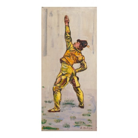 "HODLER ""Study for Einmutigkeit"" GESTURING yellow hat impressionist CANVAS PRINT"