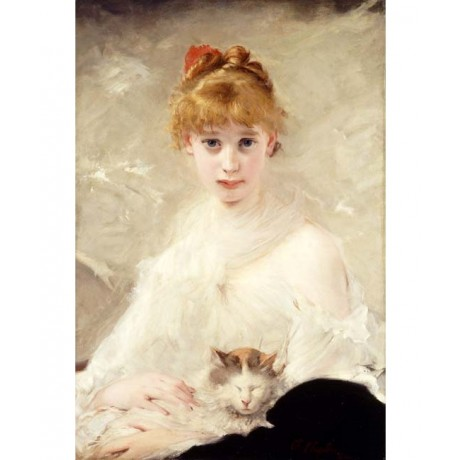 CHARLES CHAPLIN Young Girl with Cat STROKING sleeping pet portrait NEW CANVAS!