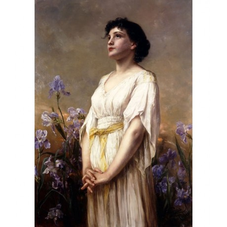 PAUL WAGNER The Iris Beauty DREAMING woman yellow sash hands clasped NEW PRINT