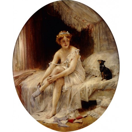 """LEON FRANCOIS COMERRE """"Little Woman putting on her stockings"""" BEDROOM dog NEW!"""