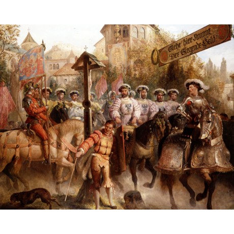 EDWARD HENRY CORBOULD The Procession CELEBRATION parade flag NEW CANVAS PRINT!