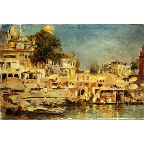 "EDWIN LORD WEEKS ""View of the Ghats at Benares"" HEAT india river CANVAS PRINT"