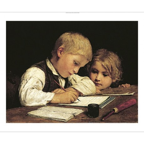 "ALBERT ANKER ""A Boy Writing"" Art CANVAS EDITION choose SIZE, from 55cm up, NEW"