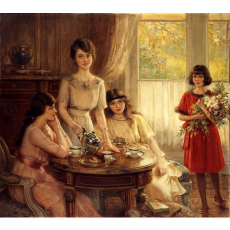 "ALBERT LYNCH ""Tea Time"" PLEASANT family life bouquet sister mother CANVAS PRINT"
