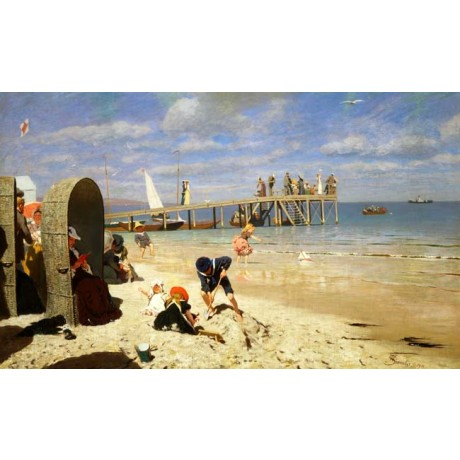 WILHELM SIMMLER Sunny Day at the Beach SUMMER holiday sandcastle CANVAS PRINT!