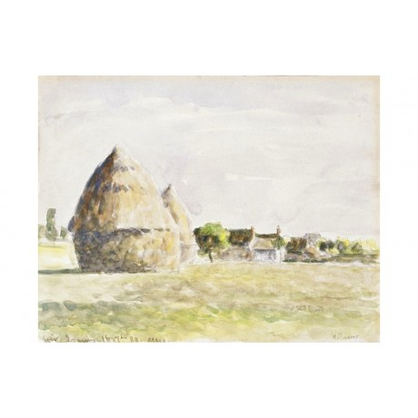 "CAMILLE PISSARRO ""Haystack Eragyny Evening"" ON CANVAS! various SIZES, BRAND NEW"