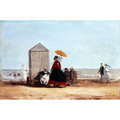 "EUGENE BOUDIN ""On the Beach at Trouville"" WOMEN couple parasol sea NEW CANVAS"