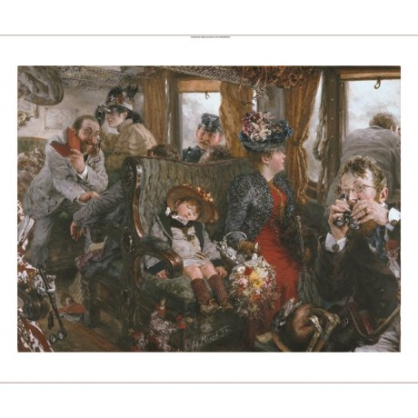 "ADOLF VON MENZEL ""On Train"" CANVAS EDITION choose SIZE, from 55cm upwards, NEW"