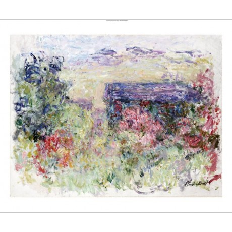 "CLAUDE MONET ""House Through Roses"" print ON CANVAS choose SIZE, from 55cm up"