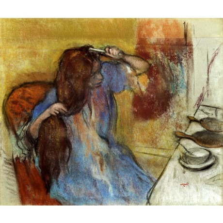EDGAR DEGAS Woman at her Toilet BRUSHING long hair wearing blue robe NEW PRINT