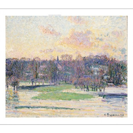"CAMILLE PISSARRO ""Flood at Sunset"" Landscape ON CANVAS various SIZES, BRAND NEW"