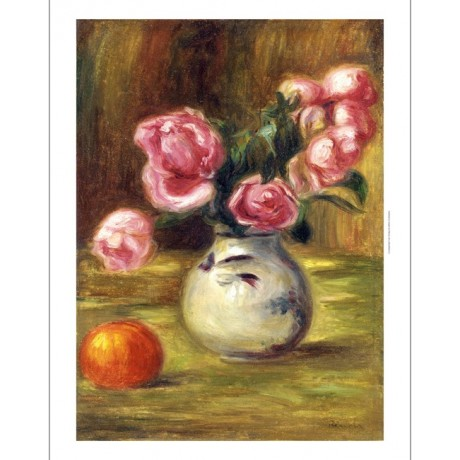"PIERRE-AUGUSTE RENOIR ""Vase De Roses Et Orange"" Print various SIZES, BRAND NEW"