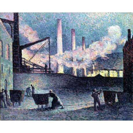 "MAXIMILIEN LUCE ""Factory Chimneys Couillet"" SMOKING workers industry NEW CANVAS"