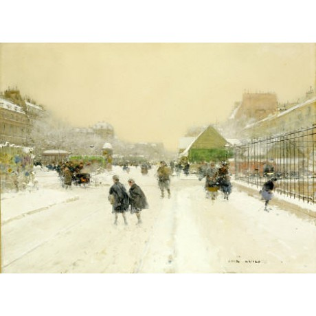 "LUIGI LOIR ""Paris In Snow"" print NEW ON CANVAS NEW choose SIZE, from 55cm up"