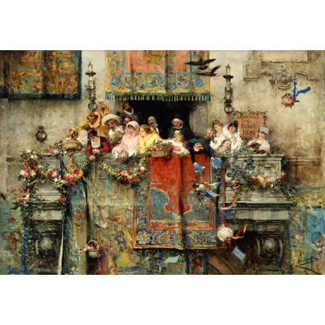 JOSE BENLLIURE Y GIL The Carnival in Rome JOYFUL children balcony CANVAS PRINT