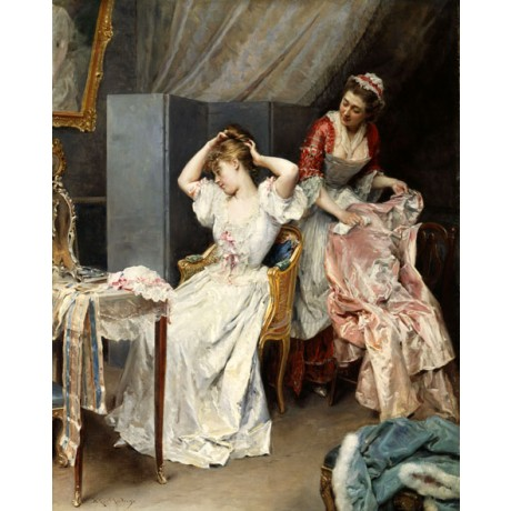 RAIMUNDO DE MADRAZO Y GARETTA La Toilette DRESSING hair lady maid CANVAS PRINT