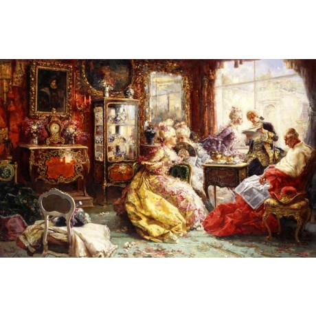 SANCHEZ-BARBUDO MORALES An Afternoon in the Salon RICH gossip fan CANVAS PRINT