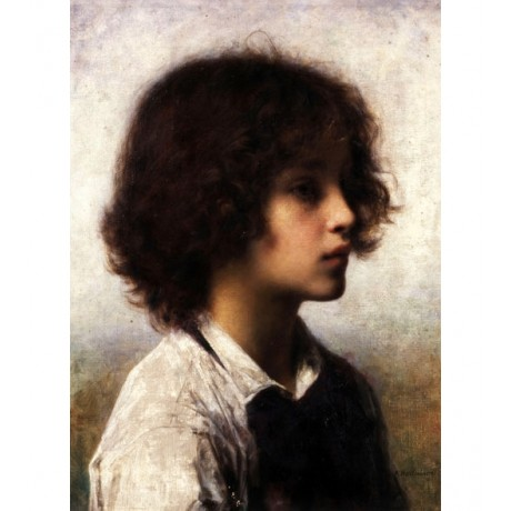 "ALEXEI ALEXEVICH HARLAMOFF ""Faraway Thoughts"" YOUNG BOY thinking CANVAS PRINT"