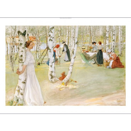 "CARL LARSSON ""Breakfast In Open"" CANVAS ART ! choose your SIZE, 55cm to X LARGE"
