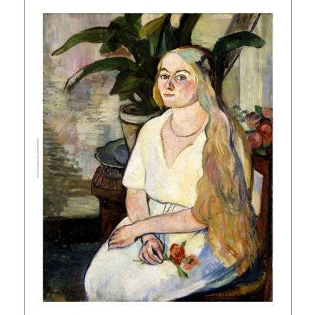 SUZANNE VALADON Portrait of Germaine Utter LONG blonde hair flower NEW CANVAS!