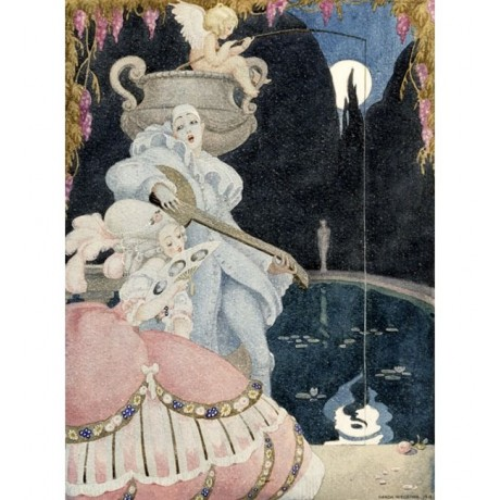 GERDA WEGENER Elegante et Pierrot DREAMY fishing dress mandolin moon NEW PRINT