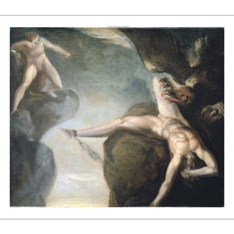 JOHANN HEINRICH FUSSLI Prometheus NUDE ON CANVAS choose SIZE, from 55cm up, NEW