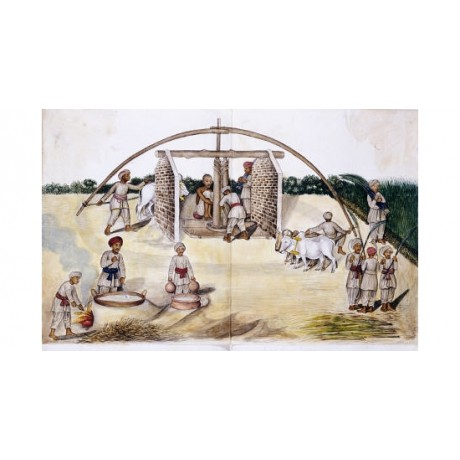 "KUTCH SCHOOL ""Sugar Cane Pressing"" Indian Art Print various SIZES available"