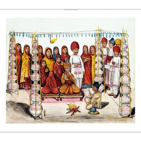 "KUTCH SCHOOL ""Betrothal"" Indian print, BROWSE OUR SHOP various SIZES, BRAND NEW"