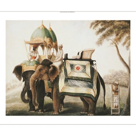 "COMPANY SCHOOL ""Elephants With Their Mahout"" ON CANVAS various SIZES, BRAND NEW"