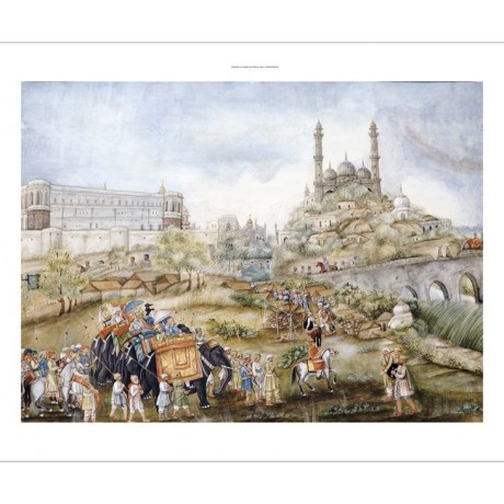 LUCKNOW SCHOOL Hunting Procession India PRINT choose your SIZE, 55cm to X LARGE