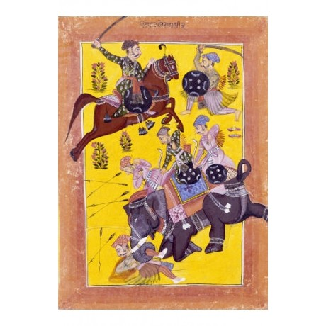 "SIROHI ""Sindhu Ragini On Horseback"" indian print CANVAS various SIZES, BRAND NEW"
