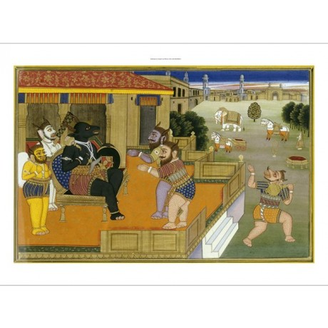 "DECORATIVE CANVAS PRINT ""Mahabharata, Jaipur"" NEW choose SIZE, from 55cm up, NEW"