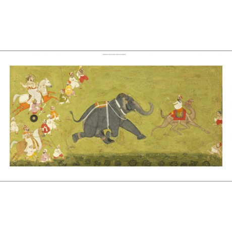 ANONYMOUS Maharaja Pursuing Elephant PRINT choose SIZE, from 55cm upwards, NEW