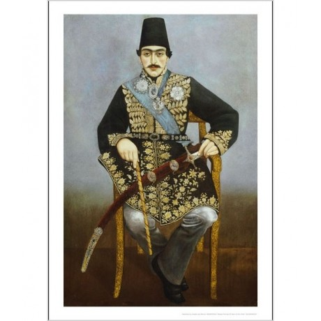 "ANONYMOUS ""Seated Portrait Of Nasir Al-Din Shah"" Print various SIZES, BRAND NEW"
