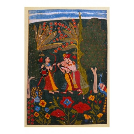 "RAVISHING CANVAS PRINT of ""Couple Embracing"" india forest tropics jungle BUNDI"
