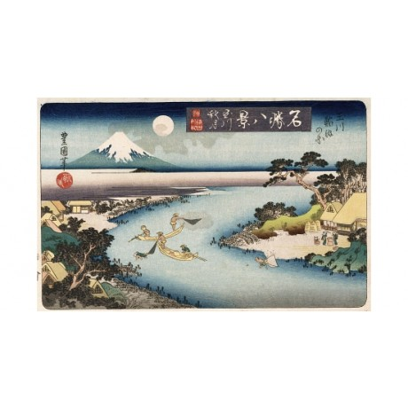 "UTAGAWA TOYOKUNI II ""Autumn Moon, Tama River"" ON CANVAS various SIZES, BRAND NEW"