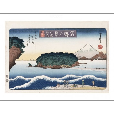 "UTAGAWA TOYOKUNI ""Clearing Weather, Enoshima I"" CANVAS various SIZES, BRAND NEW"