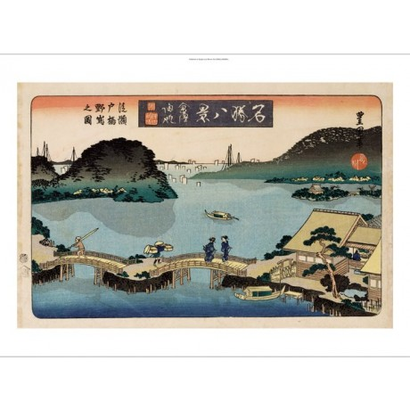 "UTAGAWA TOYOKUNI II ""Twilight, Atami"" JAPANESE canvas! various SIZES, BRAND NEW"