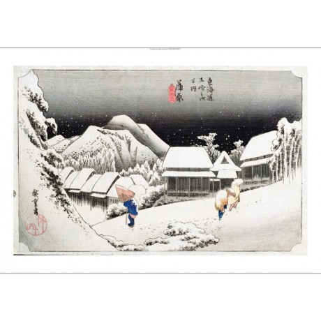 "ANDO HIROSHIGE ""Night Snow, Kambara"" JAPANESE canvas! various SIZES, BRAND NEW"
