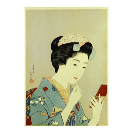 "HASHIGUCHI GOYO ""Maiko Applying Rouge To Lips"" PRINT various SIZES available"