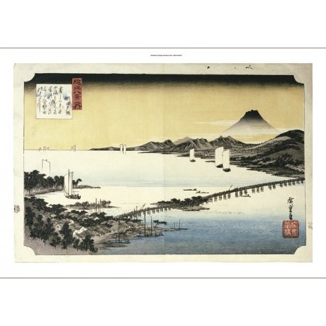 "ANDO HIROSHIGE ""Evening Glow At Seta"" Landscape Print various SIZES, BRAND NEW"