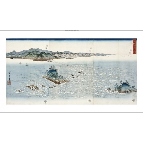 ANDO HIROSHIGE Whirlpools At Naruto CANVAS ART choose SIZE, from 55cm up, NEW
