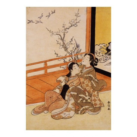 "HARUNOBU ""Two Women Seated By A Verandah"" CANVAS ART various SIZES available"