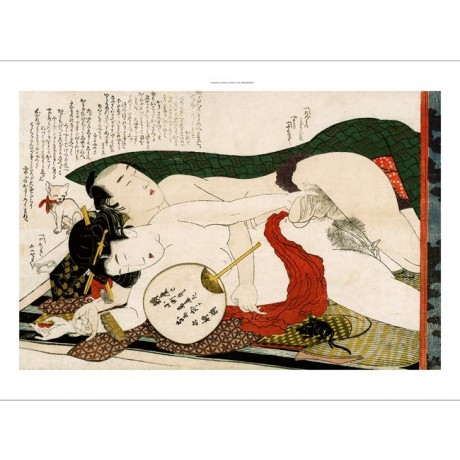"HOKUSAI ""(Ehon) Tsui no hinagata"" nude japanese CANVAS various SIZES available"