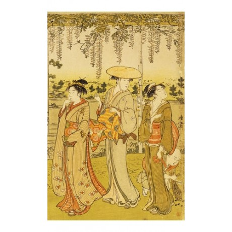 KIYONAGA Women Viewing Wisteria Japan PRINT choose your SIZE, from 55cm upwards