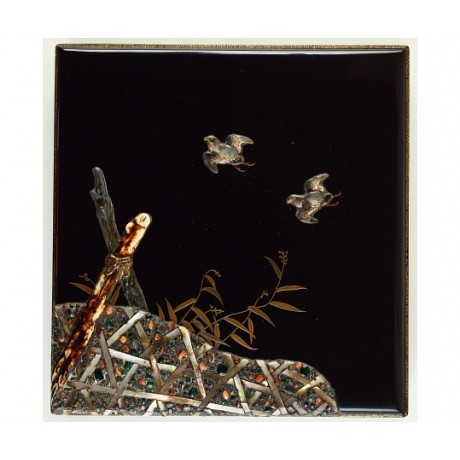 "CANVAS PRINT of LUSCIOUS gold hiramakie black ""Birds Above Reeds"" JAPANESE"
