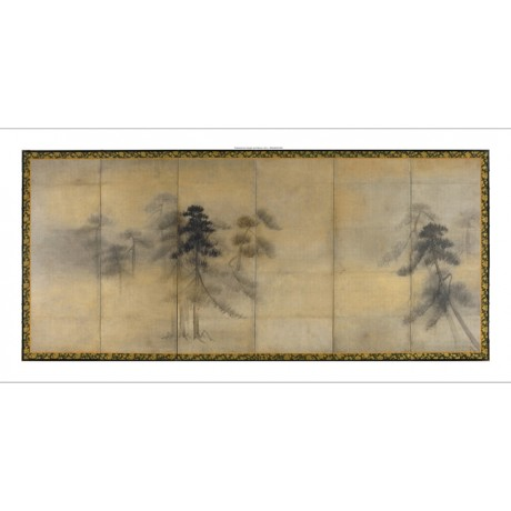 "CAPTIVATING NEW CANVAS PRINT after HASEGAWA TOHAKU ""Pine Trees in Moonlight I"""