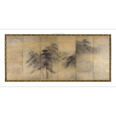 "MATCHING NEW CANVAS ""Pine Trees in Moonlight II"" pair panels HASEGAWA TOHAKU"