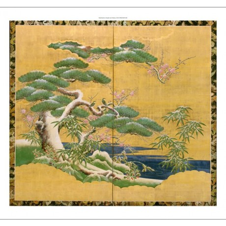 "STYLISH CANVAS PRINT ""Pine, Bamboo and Plum in Snow"" gold green japanese ANON"