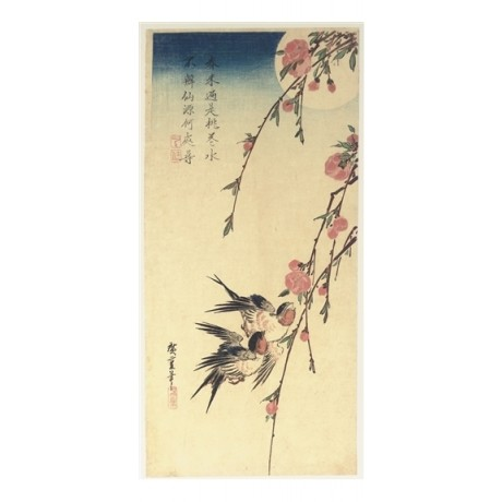 BEAUTFIUL CANVAS PRINT Swallows and Peach Blossoms full moon UTAGAWA HIROSHIGE